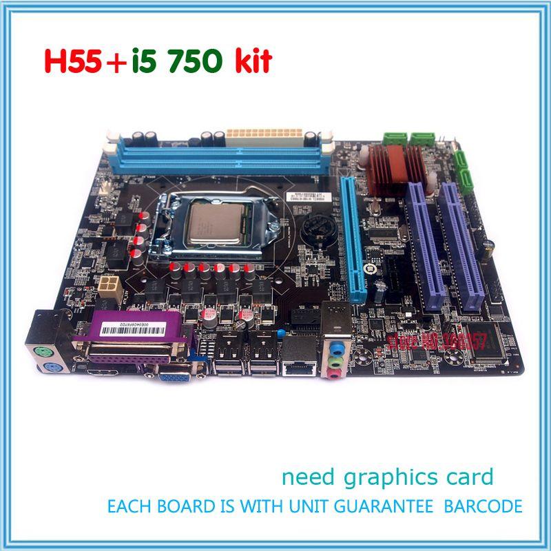 새로운 DDR3 LGA1156 h55은 마더 보드 키트 i5 750 cpu
