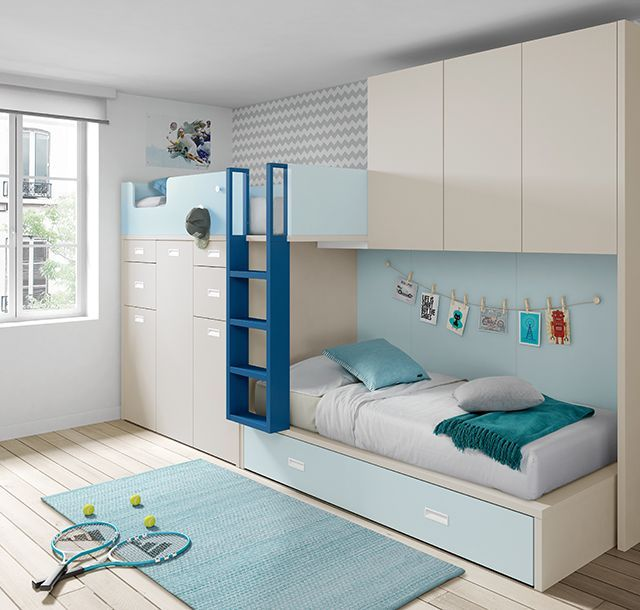 Bunk bed with bridge wardrobe and two removable desks   bridge desks removable wardrobe  DecorationBureau is part of Kids room furniture -