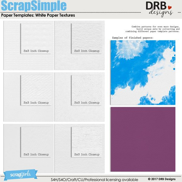 ScrapSimple Paper Templates White Paper Textures by DRB Designs - white paper templates