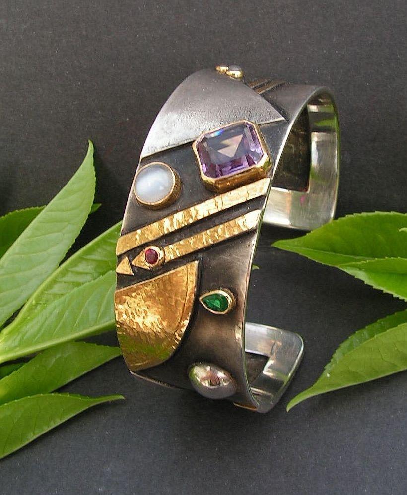 Linda Ladurner Bracelet 2007 Silver Gold Amethyst Emerald Ruby Moonstone