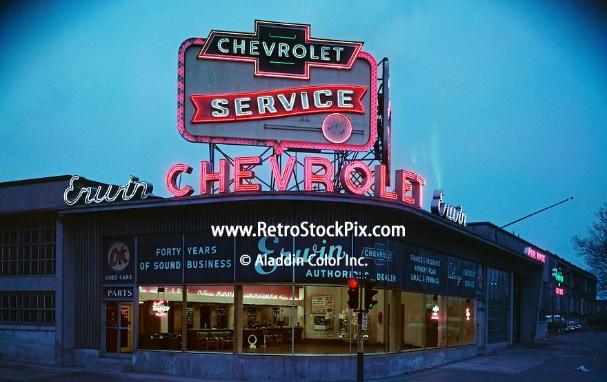 Vintage neon signs at night erwin chevrolet car for Griffith motors home pa