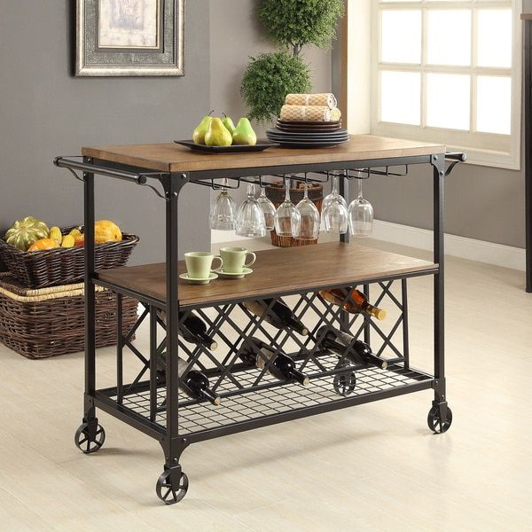 Beau Furniture Of America Daimon Industrial Medium Oak Serving Cart