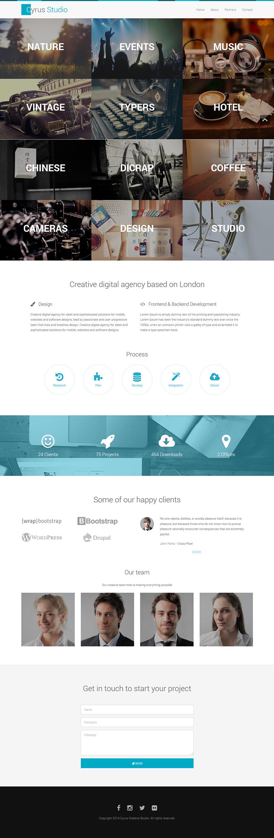 Cyrus Studio - free bootstrap portfolio theme   Free Creative Agency ...