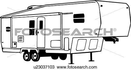 fifth wheel camper clip art sketch coloring page