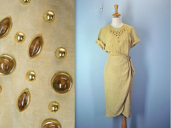 80s gold dress  WRAP around dress  1980s studded by SnapVintage, $24.00