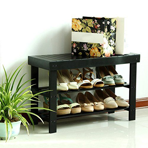 SONGMICS Entryway Wooden Shoe Bench 2-Tier Shoe Rack Organizer Black ULWB66H