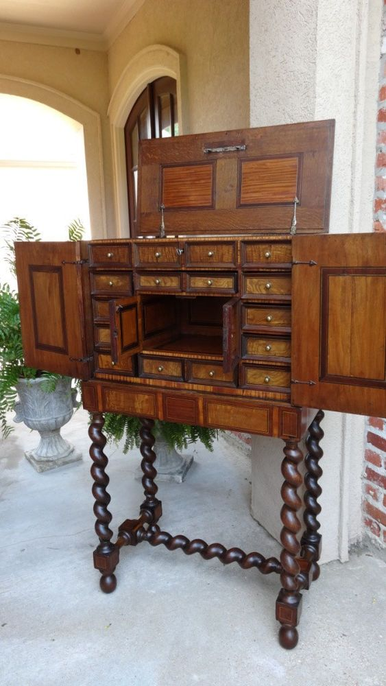 Antique French Cabinet Chest On Stand Barley Twist Mahogany Walnut 18th Century