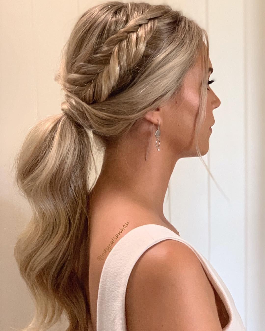 ponytail + fishtail braid ✨ bridesmaid hair inspo by