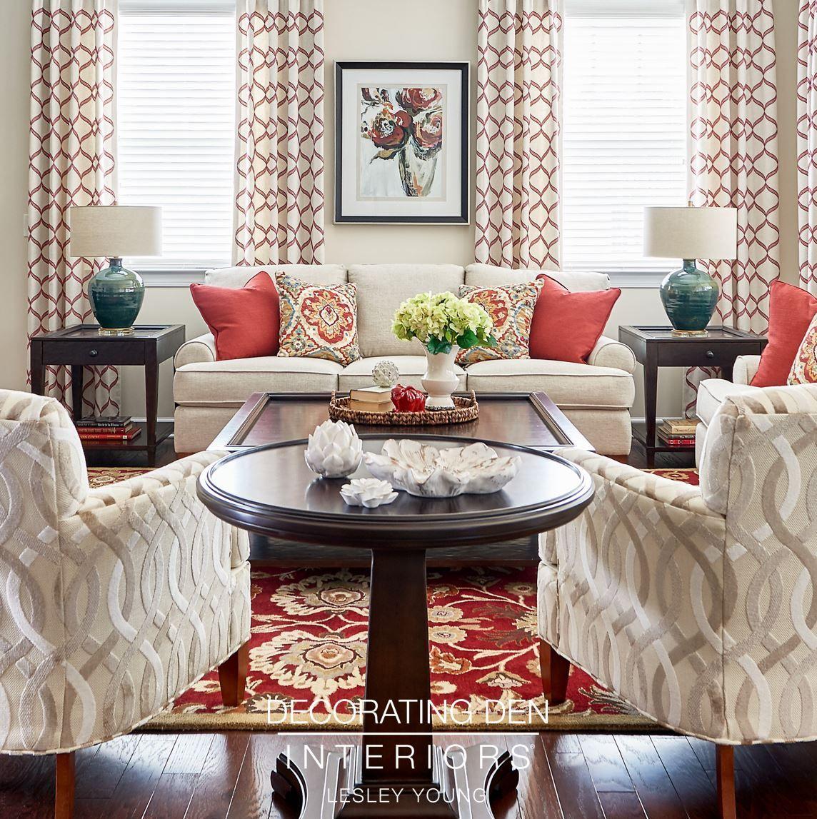 Beautiful Red And Cream Family Room Interior Design
