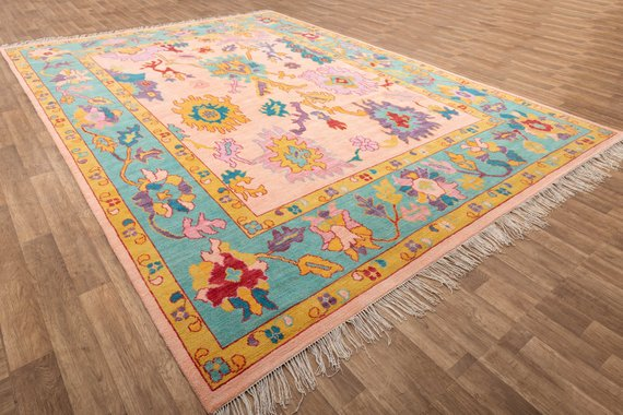 10x14 Oushak Rug Wool Rug Pink Rug 10x14 Area Rug Area Rug Tapis Tapetes Alfombra Teppiche Pink Rug Oushak Rug Rugs