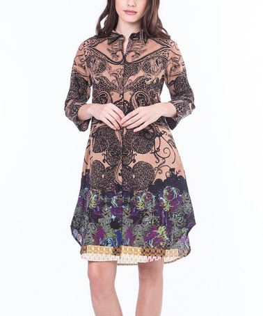 This Brown Enigmatic Shirt Dress is perfect! #zulilyfinds