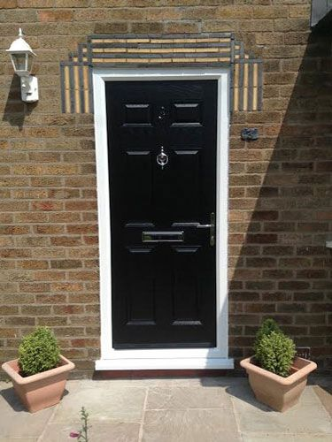 6 Panel Composite Front Door In Black Front Door Paint Ideas