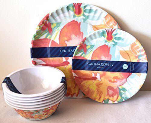 Cynthia Rowley Home Lightweight Tropical Hibiscus Flower Print Melamine Dinnerware & Cynthia Rowley Home Lightweight Tropical Hibiscus Flower Print ...