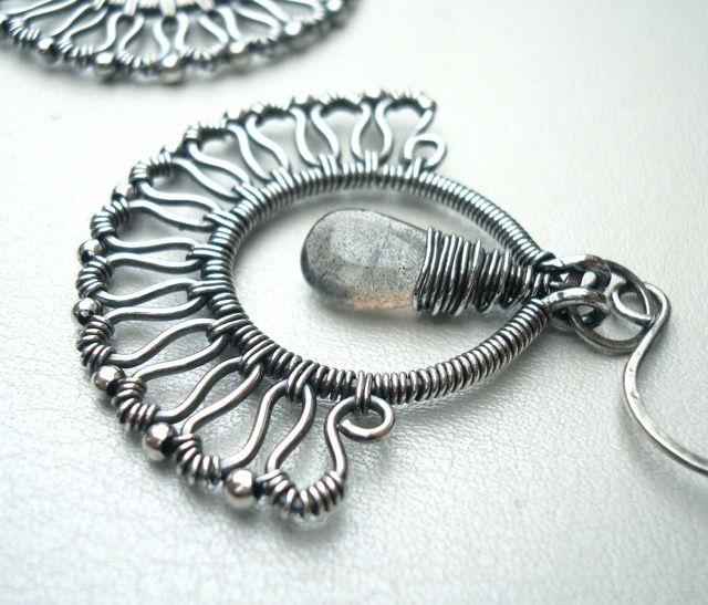 Wire-wrapped art nouveau fan earrings in Sterling and fine silver with Labradorite, handmade by Weaversfield on Etsy. https://weaversfield.etsy.com