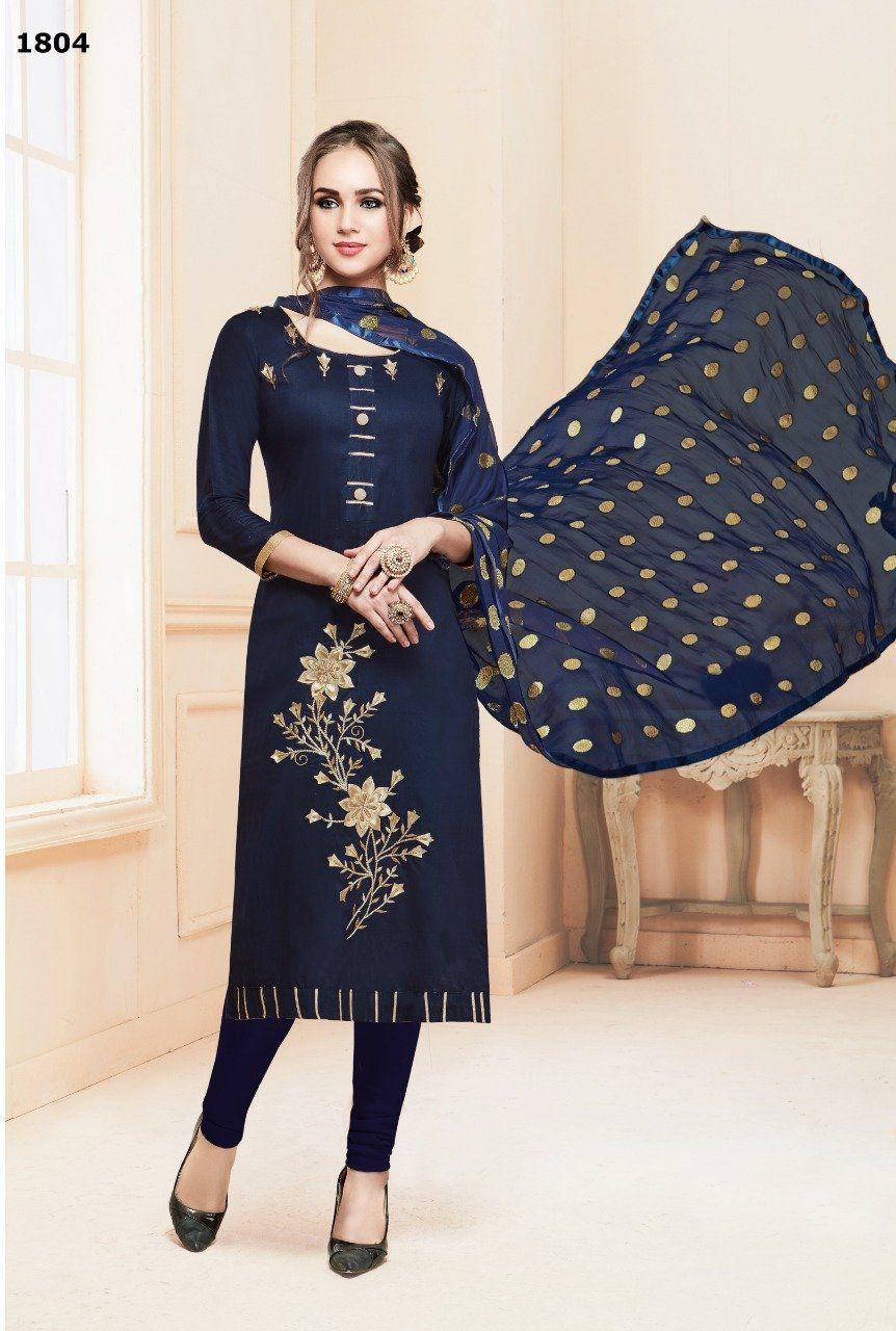 Beautiful cotton embroidered churidar salwar kameez in