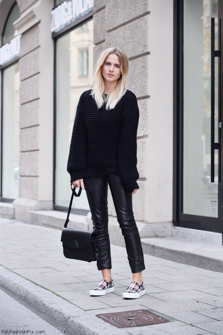 Black sweater and leather pants for fall street style ...