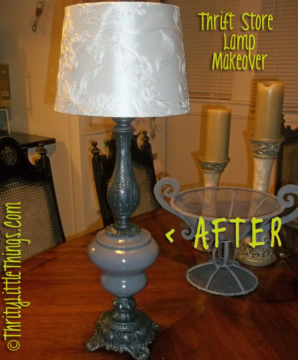 Thrifty Little Things: Annie Sloan Chalk Paint Projects + Budget DIY Furniture Makeovers: THRIFT STORE LAMP MAKEOVER: CHALKPAINT + METAL GLAZE