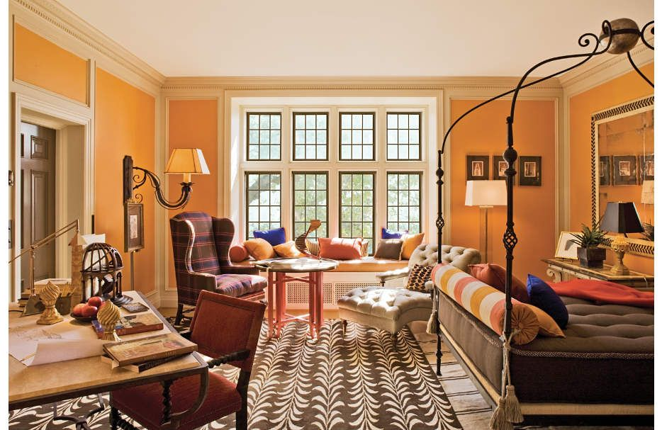 eclectic and graphic patterns and colour within this historic estate - Orange Bedrooms