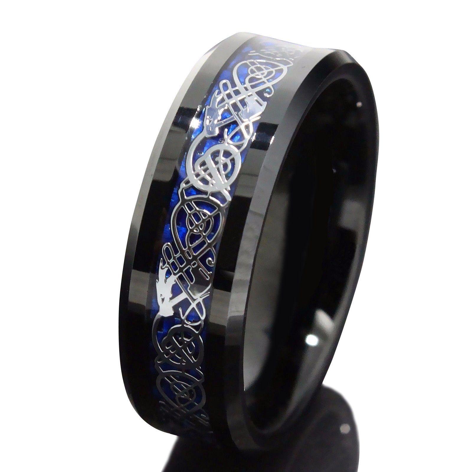 8mm Black Tungsten Carbide Ring Silvering Celtic Dragon Blue