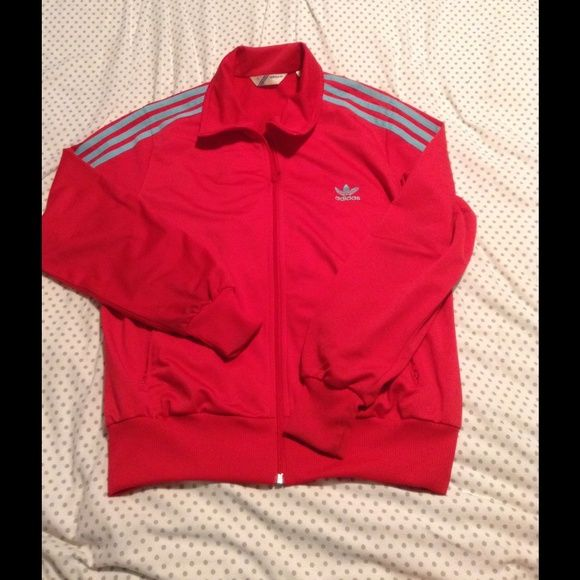 0a58efdebd3f Adidas Firebird track jacket Color  cherry red with light blue stripes. Worn  only very few times. Adidas Jackets   Coats