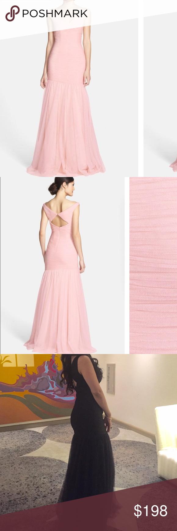 Monique Lhuillier V-Neck Shirred Tulle Dress