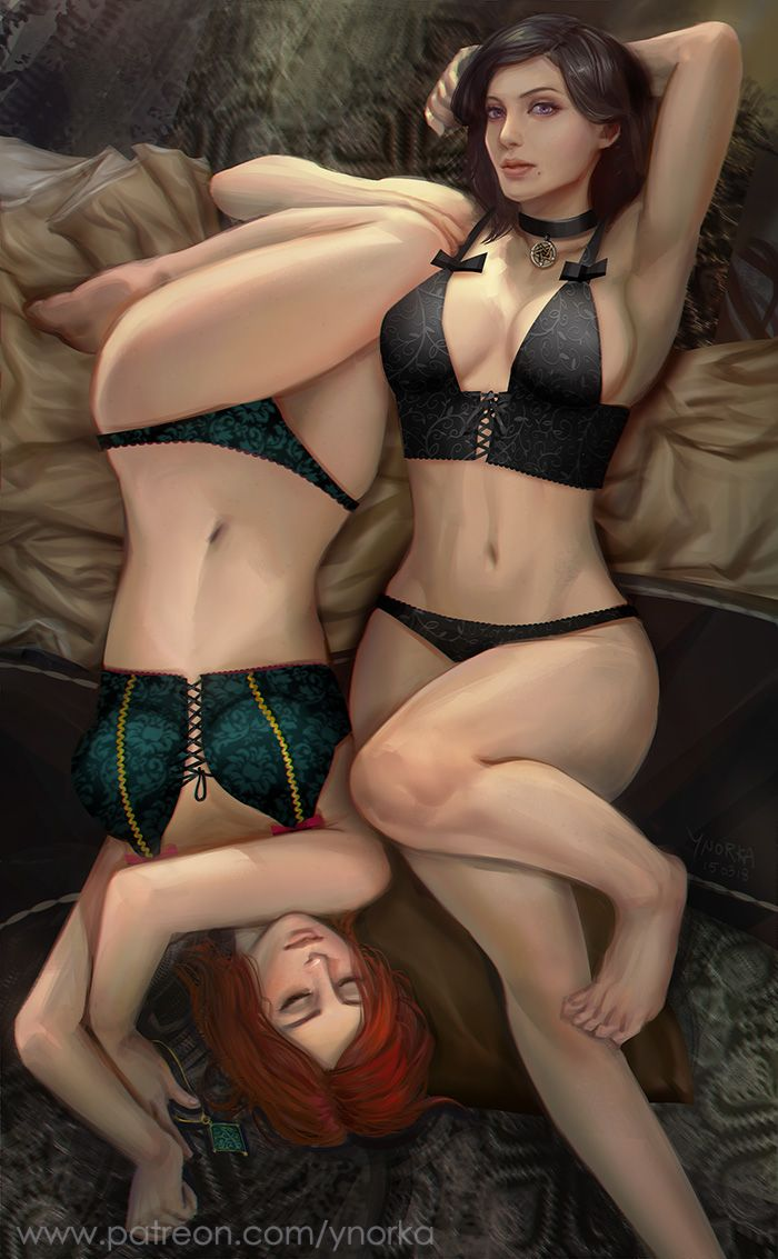 9b4d0df131fa Yen and Triss on bed by ynorka   Witcher Art   Art, Erotic art ...