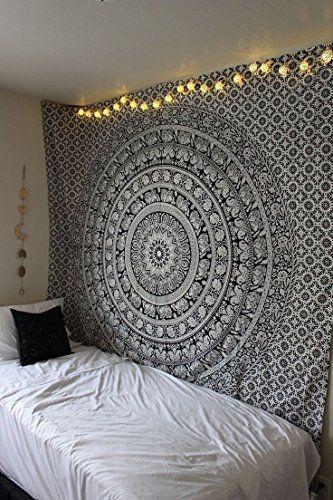 Décoration de chambre 100 coton imprimé à la main tapisserie murale ou drap de plage mandala style eléphant noir blanc amazon fr cuisine maison