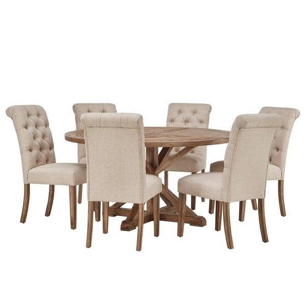 $1680   Benchwright Rustic X Base Round Pine Wood Rolled Back 7 Piece Dining