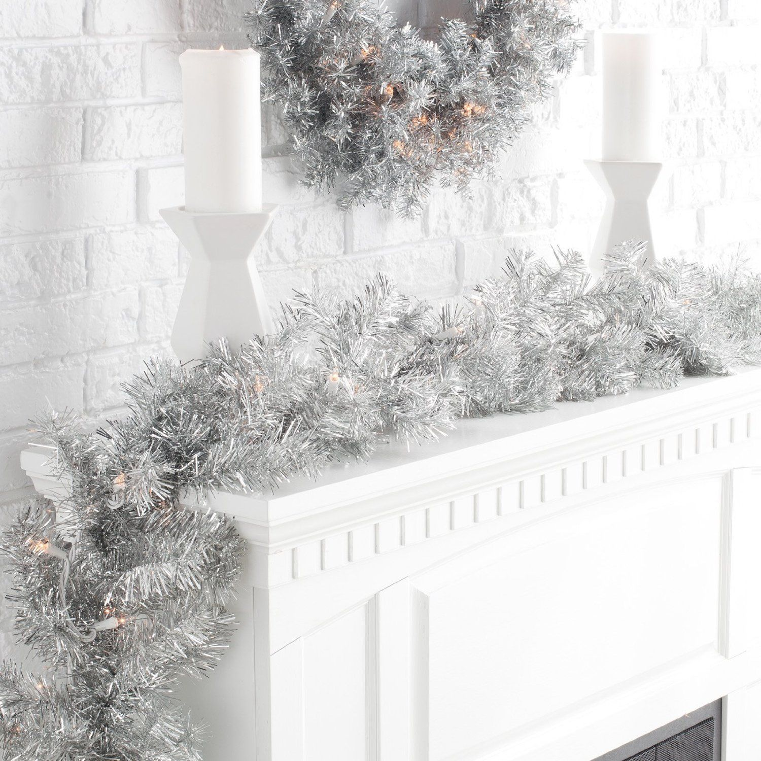 Finley Home Classic Silver Pre-lit Garland - http://www.christmasshack.com/christmas-garlands/finley-home-classic-silver-pre-lit-garland/