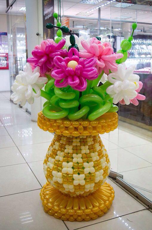 Flower vase balloons globos pinterest balloon