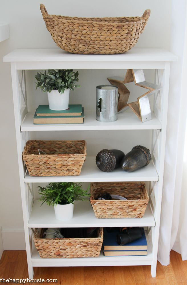 Friday S Finds Cute Storage Baskets Organizing Our Living Room Shelves The Happy Housie Bookshelf Decor Cute Bookshelves Classy Apartment Decor
