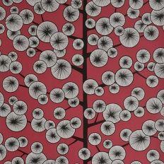 Papier peint gris et rouge cotonnier style japonais – MissPrint
