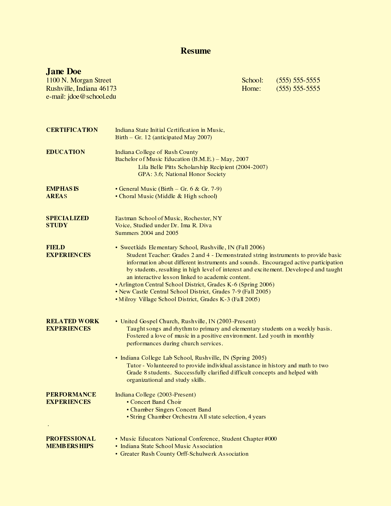 Teachers Resume Template Sample Student Resume  Httpwwwresumecareersample
