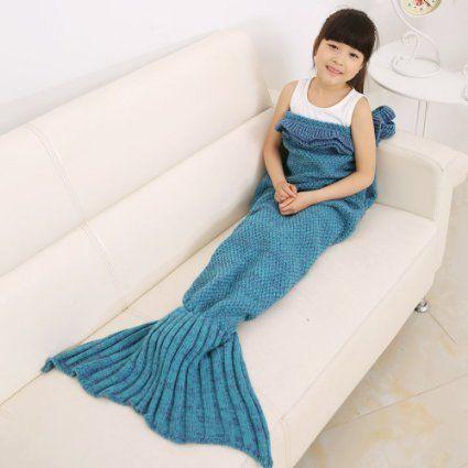 TWH Handmade Knitted Mermaid Tail Blanket for Kids Crochet Fish Scale Sleeping Bag Soft for Children (Blue)