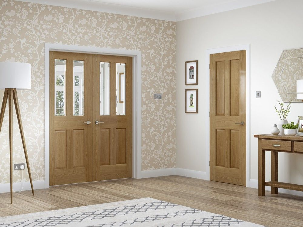 XL - GOPMAL46 Malton Internal Oak Rebated Door Pair with Clear Bevelled Glass - Rebated Door & XL - GOPMAL46 Malton Internal Oak Rebated Door Pair with Clear ...