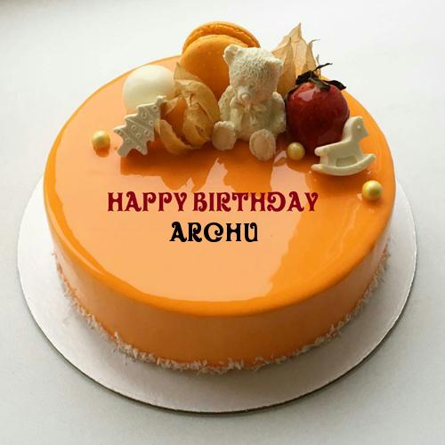 Orange Fruit Birthday Cake With Kid Name
