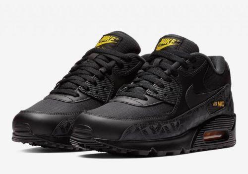 quality design 6698d 252be Nike Air Max 90 Black Black Amarillo Yellow BQ4685 001 Mens Trainer Size  8-13