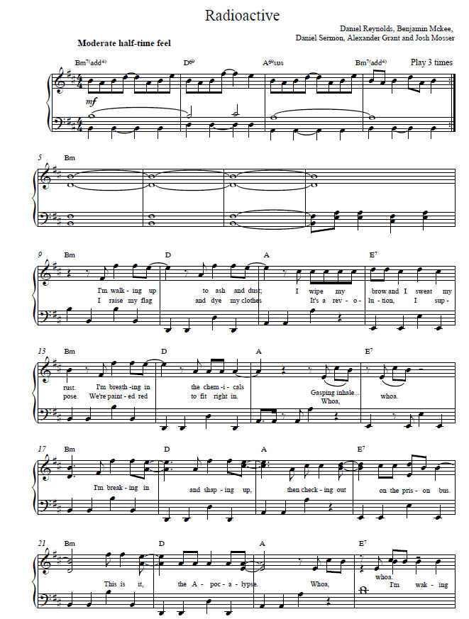 Radioactive Imagine Dragons Sheet Music and Piano Tutorial Gonna attempt this. Wish me luck.