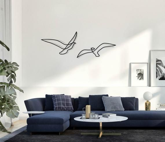 Set Of 2 Abstract Birds Metal Home Decor Minimalist Wall Art