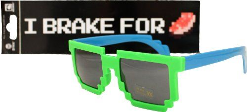 e70decf3ae Official Minecraft Sticker with Pixelated Sunglasses (Choice of Color AND  Sticker!)) (