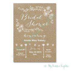 diy bridal shower invitation whimsical rustic bridal shower invitation template diy kraft shower invitations template with a white flower design