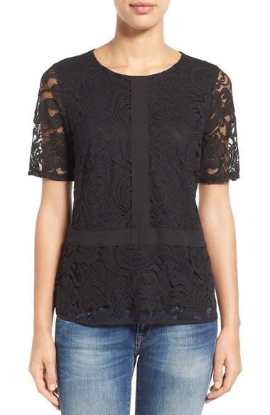 1508c2c28d6 Gibson Lace Overlay Short Sleeve Top (Regular   Petite) available at   Nordstrom