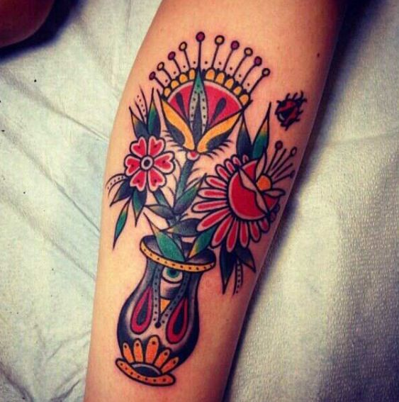 Traditional Flower Vase Tattoo Traditional Tattoo Traditional