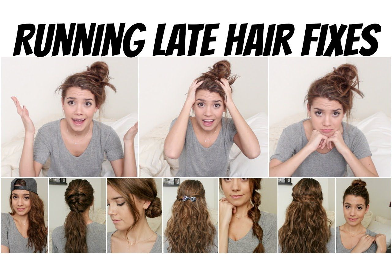 The Perfect Hair Styles When You Re Running Late Running Late Hair Fixes No Heat 8 Styles Medium Hair Styles Hair Styles Morning Hair