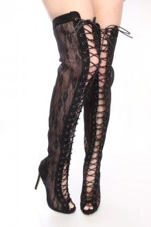 Black Lace Up Thigh High Boots Lace Faux Suede.... www.amiclubwear ...