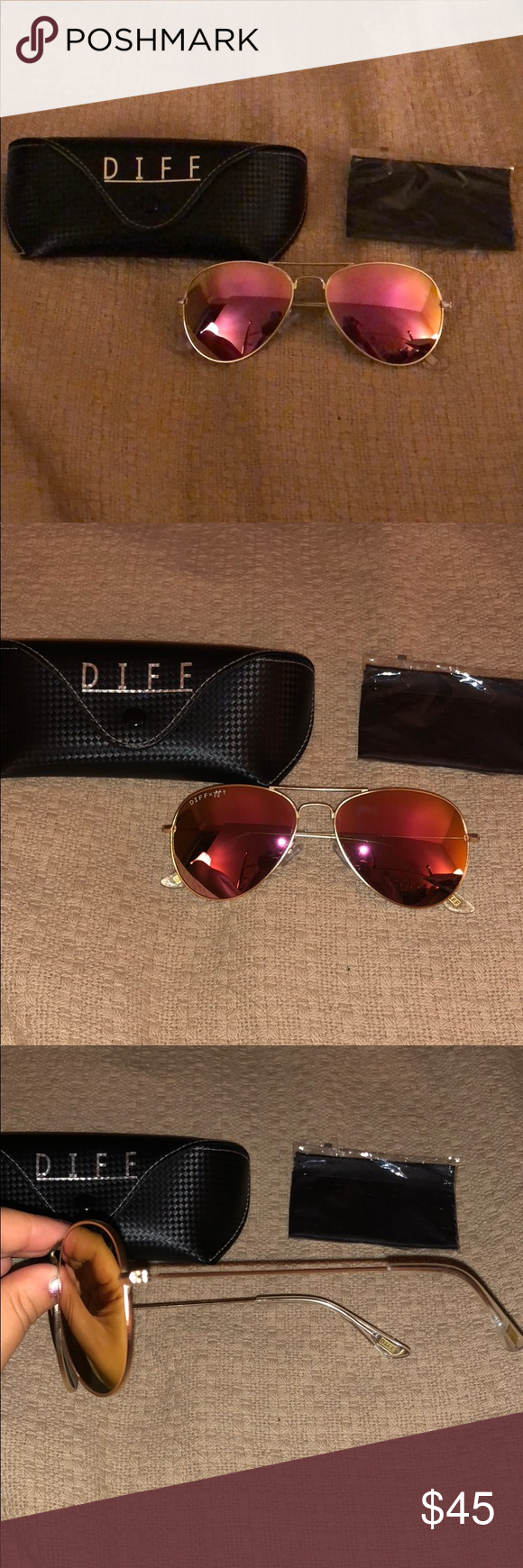 077cb765cc2d8 DIFF Eyeware - Sunglasses Limited Edition JoJo Fletcher Aviator Sunglasses.  Rose and gold lenses with gold frame. Diff Eyewear Accessories Sunglasses