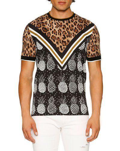 4964cfca8c0a DOLCE & GABBANA Leopard & Pineapple T-Shirt, Brown/Black/White. # dolcegabbana #cloth #