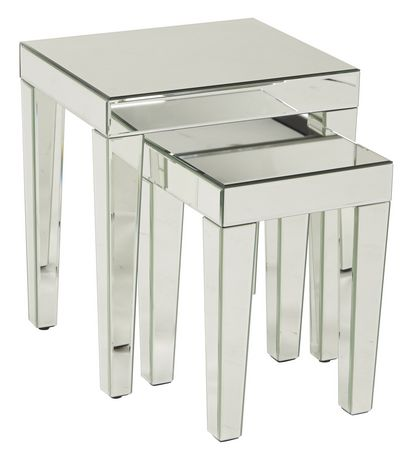 Avenue Six Nesting Tables With Silver Mirror Finish