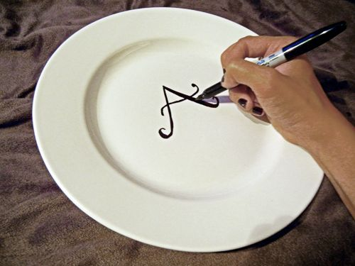Monogram A Plate In Five Minutes With A Permanent Marker
