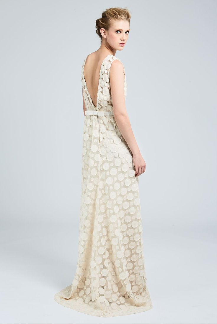 Elodea Floaty Ivory Coloured Tulle Dress With Raised Embroidery Polka Dot Pattern
